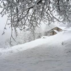 verschneite Alpe